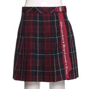 ブランドロゴテープ付きチェック柄プリーツスカート