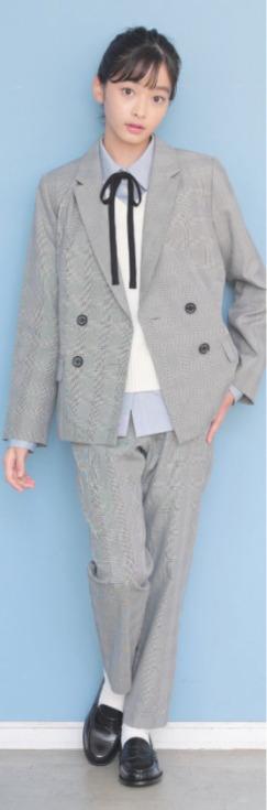 グレンチェック柄のジャケットとパンツのセットアップ
